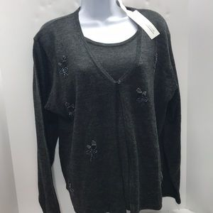 Carolyn Taylor Gray Sweater Embellished size L